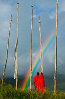Rainbow and Monks with Praying Flags, Phobjikha Valley, Gangtey Village, Bhutan Fine-Art Print