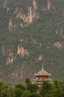 Pagoda and giant karst peak behind, Yangshuo Bridge, China Fine-Art Print