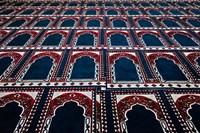 Pattern of prayer rugs, Islamic mosque, Cairo, Egypt Fine-Art Print