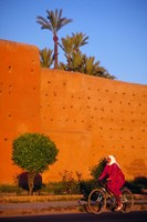 Veiled Woman Bicycling Below Red City Walls, Marrakech, Morocco Fine-Art Print