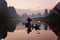 Traditional Chinese Fisherman with Cormorants, Li River, Guilin, China Fine-Art Print