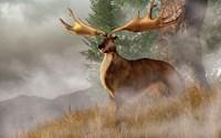 An Irish Elk stands in deep grass on a foggy hillside Fine-Art Print