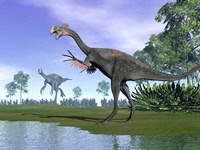 Two Gigantoraptor dinosaurs in a prehistoric environment Fine-Art Print