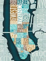Manhattan Map Blue Brown Fine-Art Print