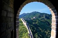 China, Huairou, Mutianyu, Great Wall, turret window Fine-Art Print