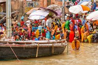 Worshipping Pilgrims on Ganges River, Varanasi, India Fine-Art Print