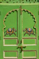 Elephants painted on green door, City Palace, Udaipur, India Fine-Art Print