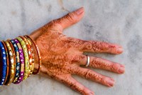 Henna Design on Woman's Hands, Delhi, India Fine-Art Print