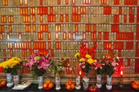 Flowers at Man Mo Buddhist Temple, Hong Kong Fine-Art Print