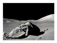 Astronaut standing near a rock on the moon, Apollo 17 Fine-Art Print