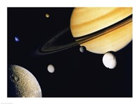 Saturn and its Satellites.  Clockwise from right: Tethys, Mimas, Encleladus, Dione, Rhea & Titan Fine-Art Print