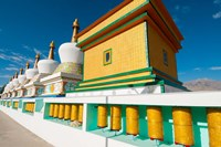 Chortens and prayer flags at Dali Lama's Ladakh home, Ladakh, India Fine-Art Print