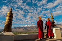 Monks playing horns at sunrise, Thiksey Monastery, Leh, Ledakh, India Fine-Art Print