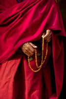 Hands of a monk in red holding prayer beads, Leh, Ladakh, India Fine-Art Print