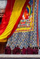 Monks raising a thangka during the Hemis Festival, Ledakh, India Fine-Art Print