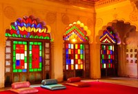 Windows of colored glass, Mehrangarh Fort, Jodhpur, Rajasthan, India Fine-Art Print