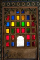 Brightly colored glass window, City Palace, Udaipur, Rajasthan, India. Fine-Art Print
