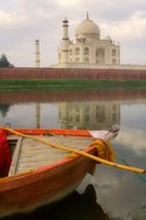 Canoe in Water with Taj Mahal, Agra, India Fine-Art Print