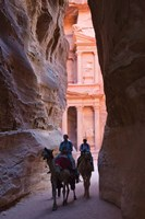 Tourists in Al-Siq leading to Facade of Treasury (Al Khazneh), Petra, Jordan Fine-Art Print