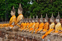 Row of Buddha statues, Wat Yai Chaya Mongkol or The Great Temple of Auspicious Victory, Ayutthaya, Thailand Fine-Art Print