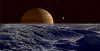 The Gas Giant Jupiter Seen Above the Surface of Jupiter's Moon Europa Fine-Art Print