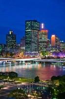 Australia, Queensland, Brisbane, City Skyline  at night Fine-Art Print