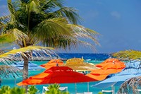 Umbrellas and Shade at Castaway Cay, Bahamas, Caribbean Fine-Art Print