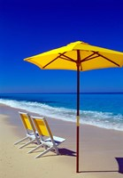 Yellow Chairs and Umbrella on Pristine Beach, Caribbean Fine-Art Print