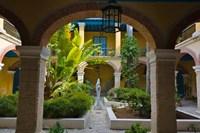 Courtyard building, historic center, Havana, UNESCO World Heritage site, Cuba Fine-Art Print