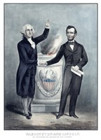 President Washington and President Lincoln Shaking Hands Fine-Art Print