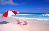 Beach Umbrella and Chairs, Caribbean Fine-Art Print
