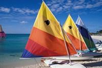 Sailboats on the Beach at Princess Cays, Bahamas Fine-Art Print