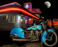 Old Blue Harley on Route 66 Fine-Art Print