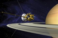 Artists Concept of Cassini during the Saturn Orbit Insertion Maneuver Fine-Art Print
