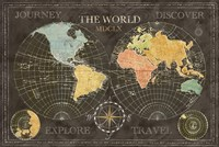 Old World Journey Map Black Fine-Art Print