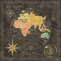 Old World Journey Map Black II Fine-Art Print