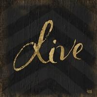 Chevron Sentiments Gold Heart Trio I Fine-Art Print