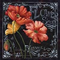 Flowers in Bloom Chalkboard I Fine-Art Print