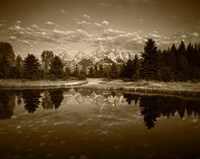 Teton Range and Snake River, Grand Teton National Park, Wyoming (sepia) Fine-Art Print