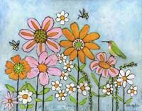 Hummingbird And Bees Fine-Art Print