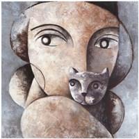 Cat and Woman Fine-Art Print