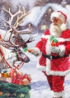 Santa Feeding Reindeer Fine-Art Print