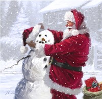 Santa And Snowman 1 Fine-Art Print