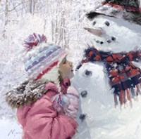 Girl With Snowman 2 Fine-Art Print