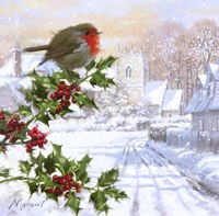 Robin On Holly 1 Fine-Art Print