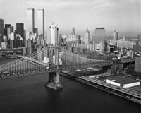 Manhattan Bridge with Twin Towers behind Fine-Art Print