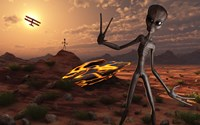 Grey Aliens at the Site of Their UFO crash Fine-Art Print
