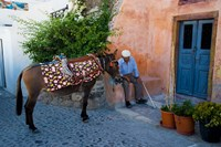 Resting Elderly Gentleman, Oia, Santorini, Greece Fine-Art Print