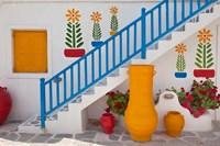 Flowers and colorful pots, Chora, Mykonos, Greece Fine-Art Print