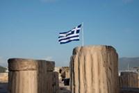 Greece, Athens, Acropolis Column ruins and Greek Flag Fine-Art Print